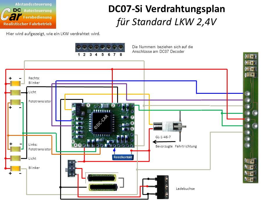 digital-car » DC07-SI Verdrahtungsplan für LKW mit 2,4V Akku